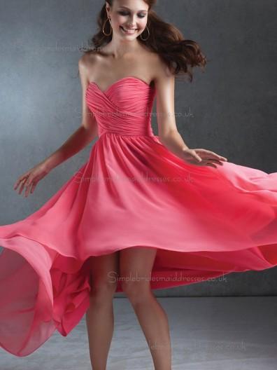 UK Chiffon Ruffles Sweep Watermelon Bridesmaid Dresses
