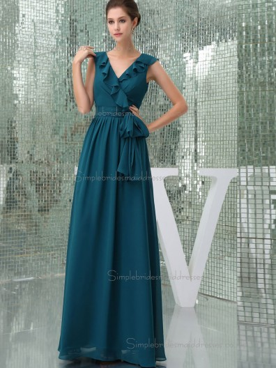 Beautiful Girls Ink blue Floor-length Bow Chiffon Bridesmaid Dresses