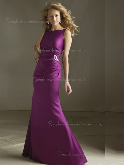 Vintage Satin Beading Fuchsia Floor-length Bridesmaid Dresses