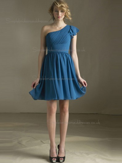 Budget Blue Draped Short-length Chiffon Bridesmaid Dresses