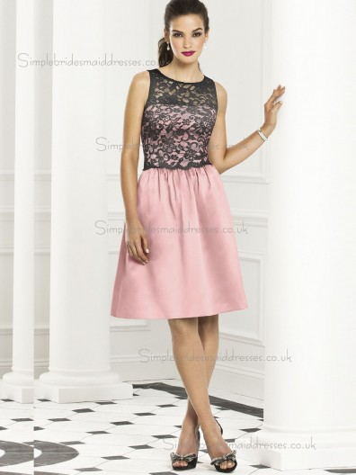 Vintage Discount Pink Lace Short-length Satin Bridesmaid Dresses