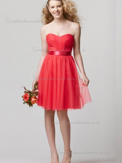 Elegant Girls Tulle Short-length Watermelon Belt Bridesmaid Dresses
