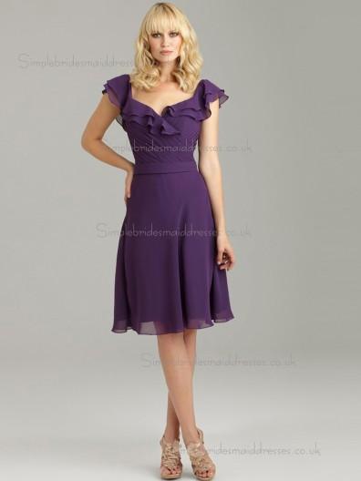 Elegant Chiffon Tiered Grape Short-length Bridesmaid Dresses
