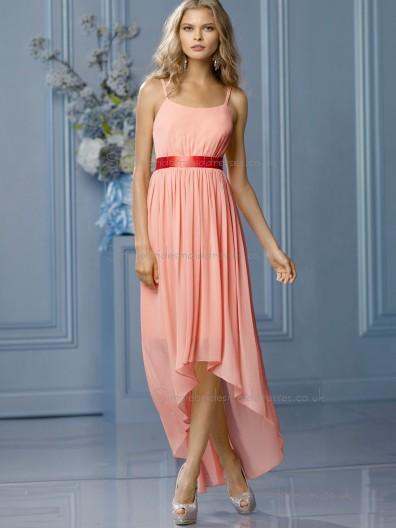 Cheap Best Chiffon Pink Draped Floor-length Bridesmaid Dresses