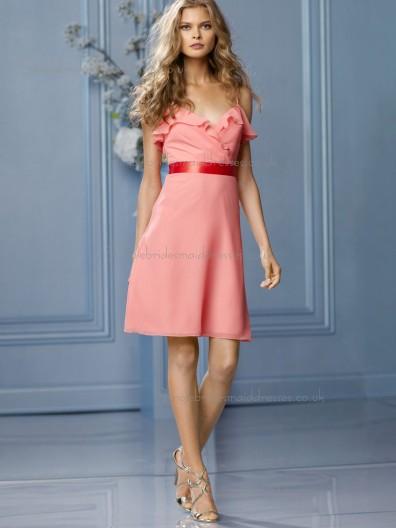 Designer Chiffon Short-length Pink Bridesmaid Dresses