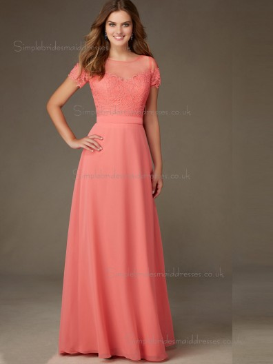 Elegant Amazing Watermelon Floor-length Lace Chiffon Lace Bridesmaid Dresses