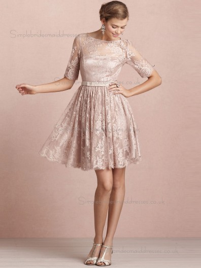 Vintage Belt Lace Champagne Short-length Bridesmaid Dresses