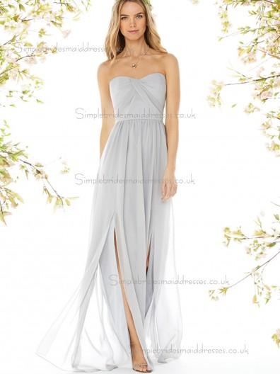 Discount Draped Gray Floor-length Chiffon Bridesmaid Dresses