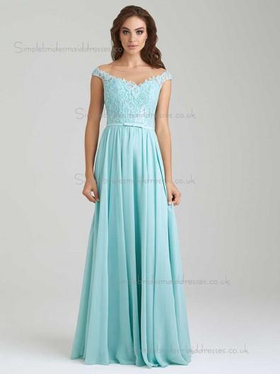 Designer Celebrity Vintage Aqua Lace Floor-length Chiffon Bridesmaid Dresses