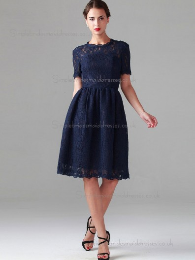 Vintage Best short-length Dark Navy Lace Bridesmaid Dresses