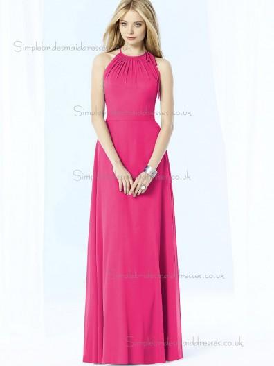 UK Best Floor-length Chiffon Hot Pink Bridesmaid Dresses