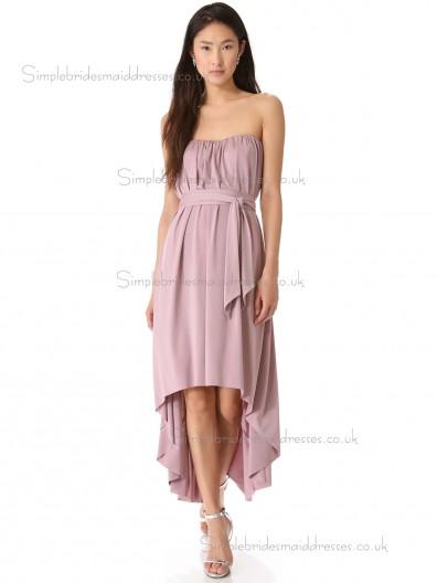 Elegant Best Tea-length Chiffon Belt Lilac Bridesmaid Dresses