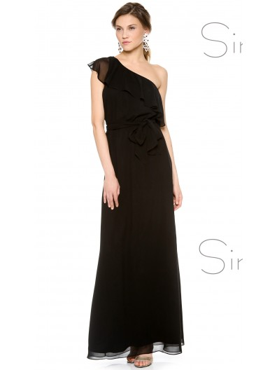 UK Stunning Black Chiffon Floor-length Bridesmaid Dresses