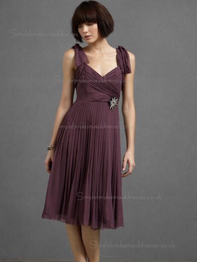 Beautiful Girls Short-length Chiffon Draped Bridesmaid Dresses