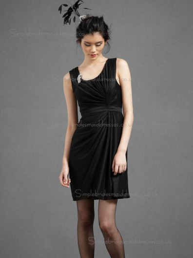 UK Girls Short-length Satin Draped Black Bridesmaid Dresses