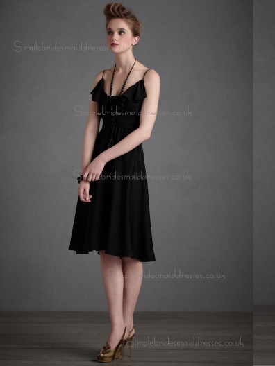 Budget Amazing Chiffon Black Short-length Bridesmaid Dresses