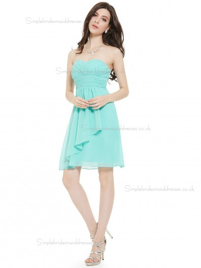 Budget Romantica Pool Chiffon Sweetheart A-line Short-length Ruffles Empire Bridesmaid Dress