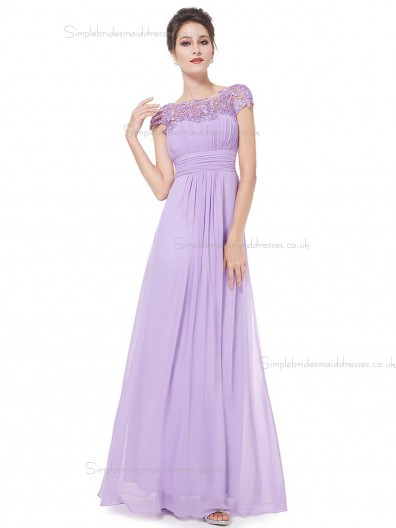 Beautiful Romantica Lilac Chiffon Bateau A-line Floor-length Lace Empire Bridesmaid Dress