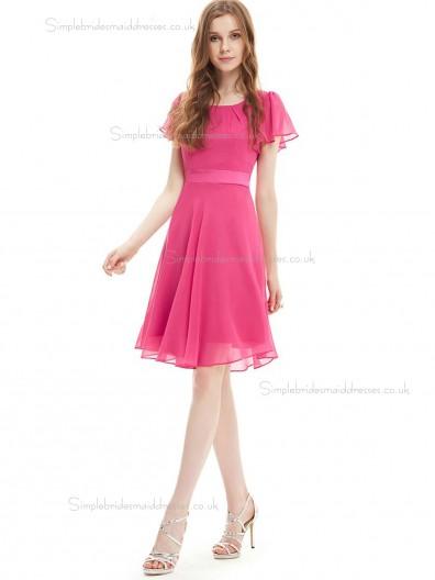 Vintage Pink Chiffon Bateau A-line Knee-length Sash Empire Bridesmaid Dress