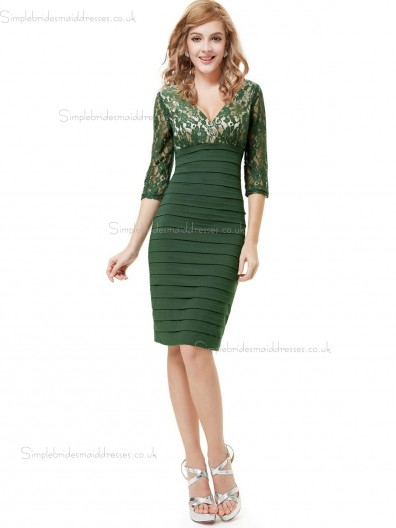Vintage Celebrity Dark Green Satin V-neck Column Sheath Knee-length Lace Empire Bridesmaid Dress