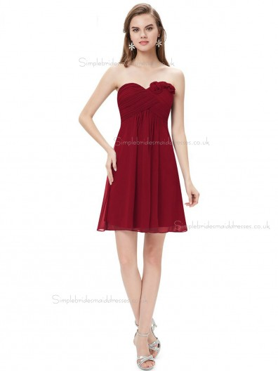 Purple Cheap Burgundy Chiffon Sweetheart A-line Knee-length Ruffles Hand Made Flower Empire Bridesmaid Dress
