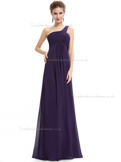 Designer Celebrity Grape Chiffon One Shoulder A-line Floor-length Ruffles Empire Bridesmaid Dress