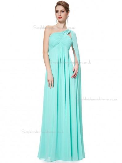 Elegant Pool Chiffon One Shoulder A-line Floor-length Ruffles Empire Bridesmaid Dress