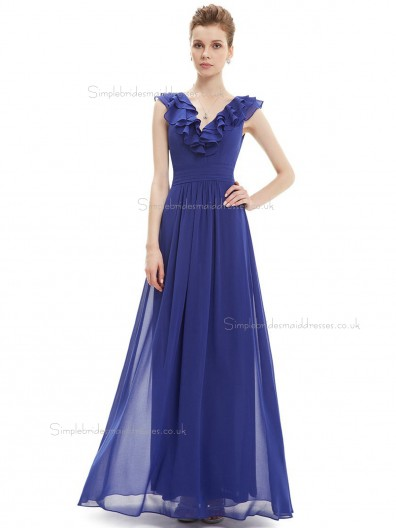 Romantica Blue Chiffon V-neck A-line Floor-length Tiered Natural Bridesmaid Dress