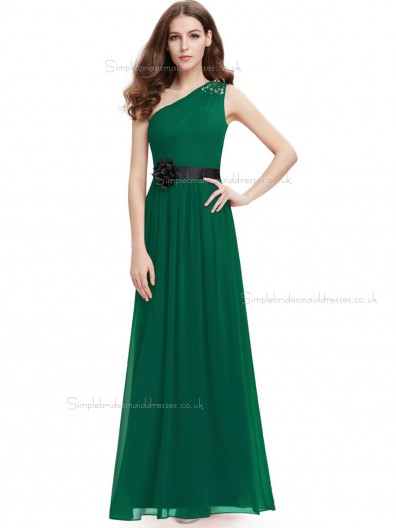 Celebrity Dark Green Chiffon One Shoulder A-line Floor-length Sash Hand Made Flower Beading Natural Bridesmaid Dress