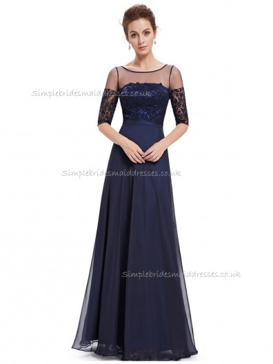 Cheap Dark Navy A-line Chiffon Lace Floor-length Bateau Bridesmaid Dress