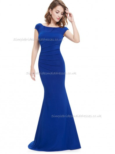 Cheap Royal Blue Mermaid Chiffon Ruffles Floor-length Bateau Bridesmaid Dress