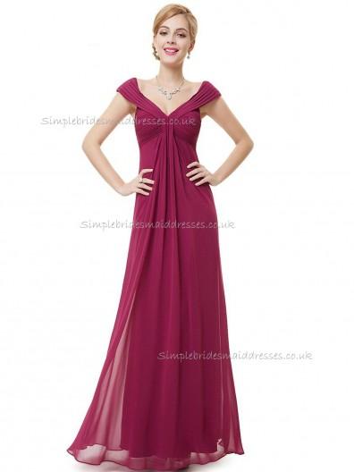 Cheap Purple A-line Chiffon Ruffles Floor-length V-neck Bridesmaid Dress