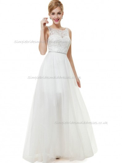 Online White A-line Tulle Lace Floor-length Bateau Bridesmaid Dress