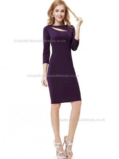 UK Grape Column / Sheath Elastic Silk-like Satin Knee-length Bridesmaid Dress