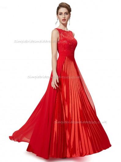 Online Girls Red A-line Lace Floor-length Bateau Bridesmaid Dress