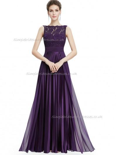 Cheap Purple A-line Lace Floor-length Bateau Bridesmaid Dress