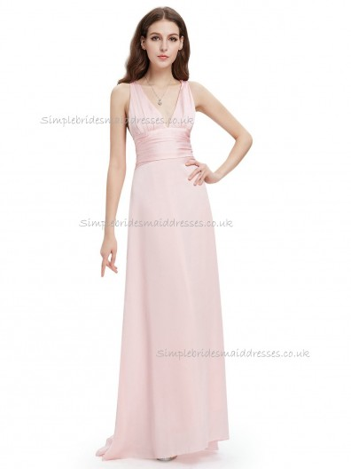 Budget Discount Pink A-line Chiffon Sash Floor-length V-neck Bridesmaid Dress