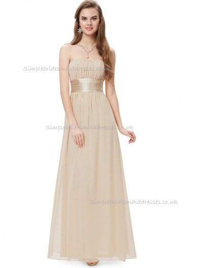 Discount Champagne A-line Chiffon Sash Floor-length Bateau Bridesmaid Dress