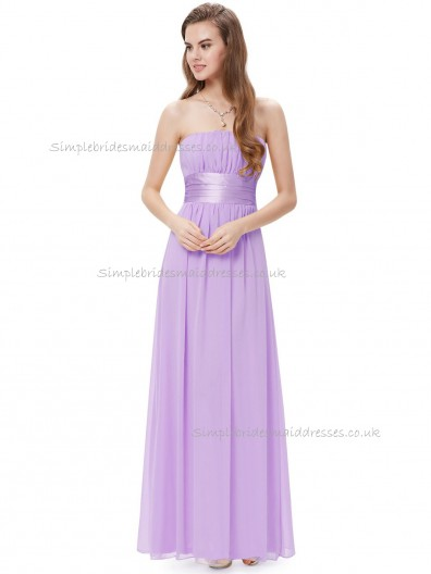 Cheap Lilac A-line Chiffon Sash Floor-length Bateau Bridesmaid Dress