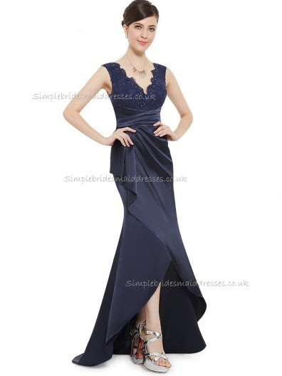 Vintage Amazing Dark Navy Satin Lace Floor-length V-neck Bridesmaid Dress