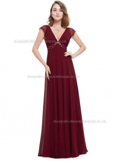 Vintage Amazing Burgundy A-line Chiffon Lace , Beading Floor-length V-neck Bridesmaid Dress