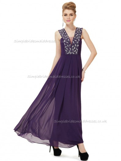 Elegant Stunning Regency A-line Chiffon Beading Floor-length V-neck Bridesmaid Dress