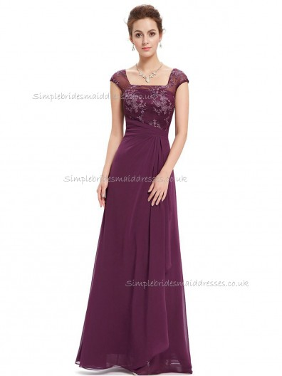 Budget Stunning A-line Chiffon Lace Floor-length Bateau Bridesmaid Dress