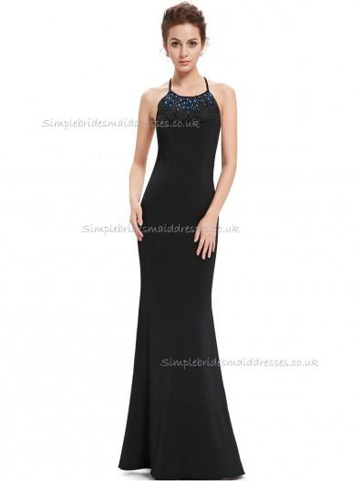 Designer Amazing Black Mermaid Beading Floor-length Bateau Bridesmaid Dress