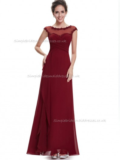 Beautiful Burgundy A-line Chiffon Lace , Ruffles Floor-length Bateau Bridesmaid Dress