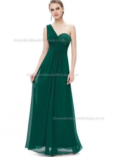 Purple Romantica Dark Green A-line Chiffon Beading Floor-length One Shoulder Bridesmaid Dress