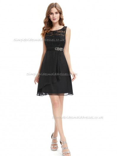 Girls Black A-line Chiffon Lace , Beading Knee-length Bateau Bridesmaid Dress