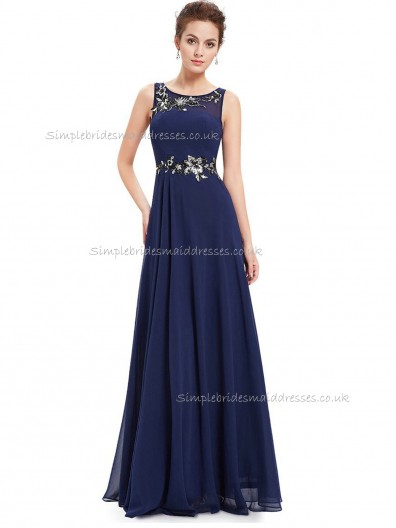 Fitted Celebrity Dark Navy A-line Chiffon Applique Floor-length Bateau Bridesmaid Dress