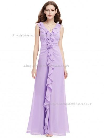 Designer Discount Lilac A-line Chiffon Tiered Floor-length V-neck Bridesmaid Dress