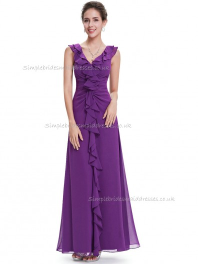Designer Vintage Regency A-line Chiffon Tiered Floor-length V-neck Bridesmaid Dress